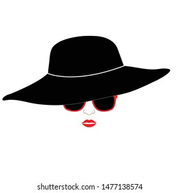 woman icon. retro fashion elegant   girl with black hat and glasses. logo women