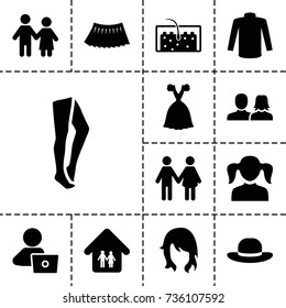 Woman icon. set of 13 filled woman icons such as girl, tights, sweater, skirt, dress, man with laptop, hair, family home, family