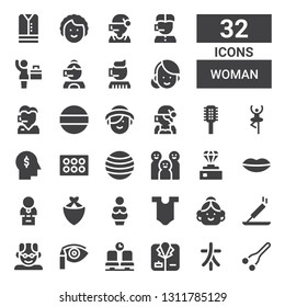 woman icon set. Collection of 32 filled woman icons included Nose, Characters, Coat, Waiting room, Eye shadow, Grandfather, Incense, Avatar, Body, Venus, Kerchief, Bust, Lips