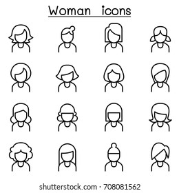 Woman icon set in thin line style