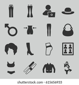Woman icons set. set of 16 woman filled icons such as slim, sawing, maid, bag, jacket, man with laptop, photo for passport, booty fitness