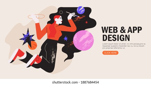Woman illustrator working in vector graphics editor or design program. Freelance designer draw space or abstract shapes with brush. Creative process of making website, ui, mobile application. design.