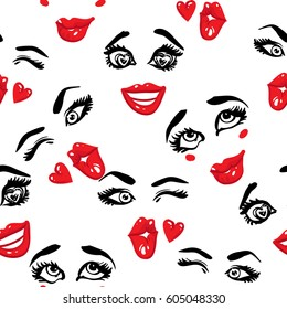 Woman inlove, kissing wink and wasn't me vector emoticons, emoji, smiley icons, characters. Fashion illustrated women's emotional faces seamless pattern.