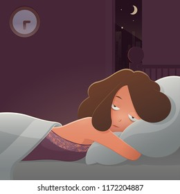 Woman insomnia, Cartoon vector and illustration