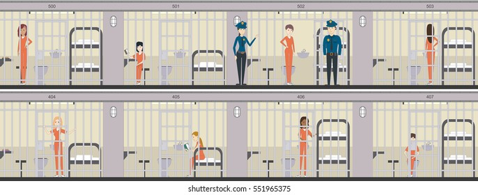 Woman in jail in orange uniform illustration set. Prison interior with bed, table and toilet. Police officers and prison cells.