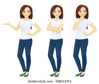 Woman in jeans standing in different poses isolated