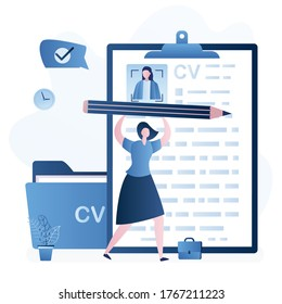 Woman job seeker hold big pencil and write cv. Resume of candidate with avatar. Unemployment, workless female character searching job. Folder with papers. Flat design. Trendy style vector illustration