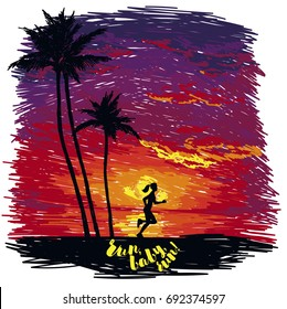 woman jogging on the beach, tropical sunset, sketch style vector illustration