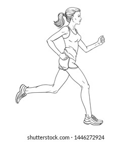 Woman jogging vector illustration. Athlete runs. Running marathon. Black and white sketch.