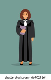 Woman judge with the case in hand. The law and justice. Vector illustration