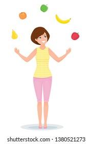 Woman juggles fruits and vegetables pepper, banana, apple, pear, peach. Cartoon flat style Healthy food