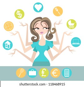 Woman juggling all the different areas of her life, including home, love, time, money, cooking, baby, internet. Extra symbols included
