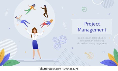 Woman Juggling People in Circle Synbolizing Project Management Banner Vector Illustration. Group of Colleagues Working Together. Teamwork in Office. Leader or Boss of Project. Gear Icons.