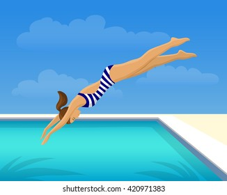 Woman Jumping Diving in Swimming Pool. Outdoor Fun Activity Vector Illustration.