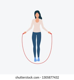 Woman jumping rope flat icon. Girl, cartoon character, fitness. Activity concept. Can be used for topics like leisure, cardio training, warmup