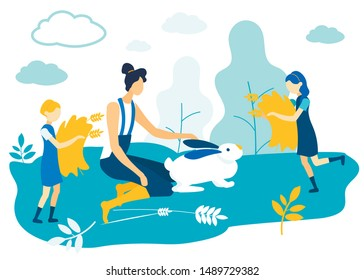 Woman Jumpsuit Ironing White Hare on Field. Girls with Sen in Hands. Vector Illustration. People on Farm. Farm Business. Family Rest Together in Garden. Woman with Two Children in Village.