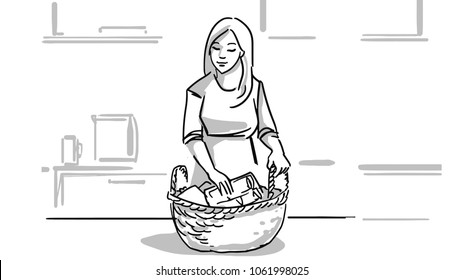 Woman in the kitchen with a wicker basket with food products on a table. A housewife cooking. Black and white vector sketch. Simple drawing.