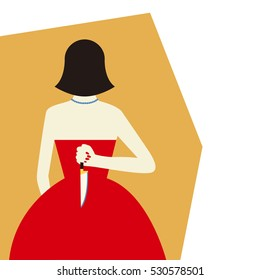 Woman with knife Vector illustration Woman in red evening dress holding a large knife in her hands behind her back