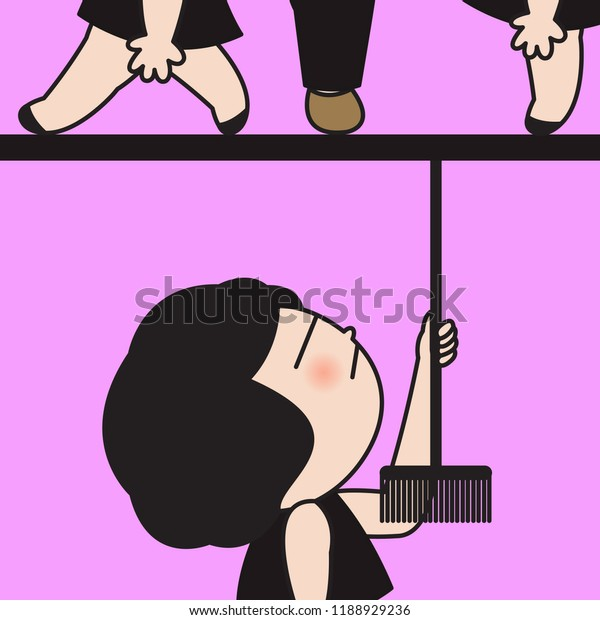 Woman Knocking Ceiling Noisy Walking Loudly Stock Vector