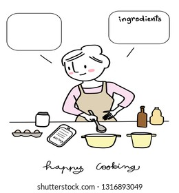 Woman with ladle in hand cooking food from recipe in tablet. Cute woman holding ladle bowl, cooking food in kitchen. Cheerful woman reading food recipe in tablet and cooking meal from the recipe.