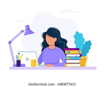 Woman with laptop, education or working concept. Table with books, lamp, coffee cup. Vector illustration in flat style