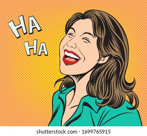 The woman laughed happily. Pop art retro hand drawn style vector design illustrations.