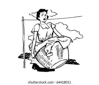 Woman With Laundry - Retro Clipart Illustration