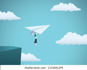 Woman leader in business vector concept. Businesswoman flying on paper plane off a cliff as symbol of woman power, strength, motivation, ambition and feminism. Eps10 vector illustration.