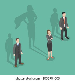 Woman leader flat isometric vector concept. Two men and a woman are standing with their shadows behind them and womans shadow is a biggest one and has a superheroes cloak.