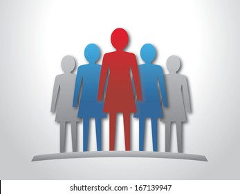 Woman leader and her team. Vector illustration.