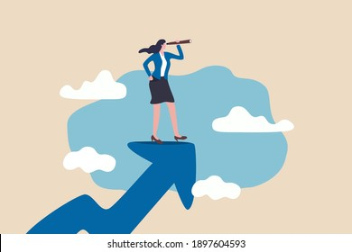 Woman leader with lady power business vision, woman visionary to see business opportunity concept, success businesswoman standing on top of rising arrow with telescope or spyglass to see future vision