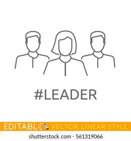 Woman leader of team. Editable line icon. Stock vector illustration.