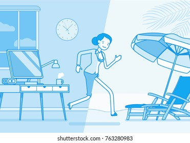 Woman leaps to vacation. Tired, overworked and exhausted female office worker runs into relax area of a sunny beach, dreaming of hot summer. Vector business concept line art illustration