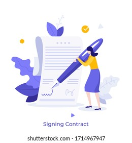 Woman leaving signature on legal document with pen. Concept of signing bilateral contract, making business deal, concluding agreement or treaty, signatory. Modern flat colorful vector illustration.