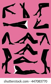 Woman legs in different poses set. Elegant lying, standing, and sitting legs positions. Straight and crossed legs. Legs design elements. Woman legs silhouettes.