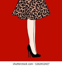 Woman legs in dress leopard print. Cute hand drawn legs in black shoes on red background.. Beautiful girl shoes. Fashion accessories. Sketch Fashion Vector illustration. Female legs in shoes