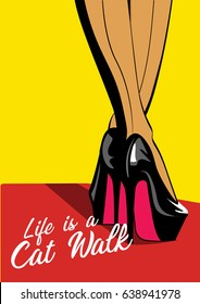 Woman legs in fashion high heels shoes. Pop art illustration.