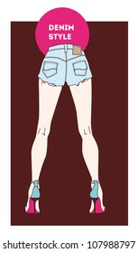 woman legs wearing jeans shorts and high heels vector illustration eps 10