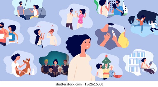 Woman life memories. Positive girl and her life experience vector concept. Memories of a girl, female visual personal diary illustration. Woman with parents, family, couple in love