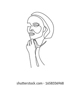 Woman Line Art Print. Woman Portrait. Black and White Face Print. One Line Portrait. Minimalist Woman Face. Contour Face Wall Art Poster. Vector EPS 10.