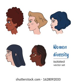 Woman line style vector set. Collection of profile portraits about females diversity like african, asian, armenian and caucasoid. Feminism and race equality design concept. Isolated white background