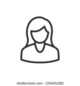 woman. linear icon. Line with editable stroke