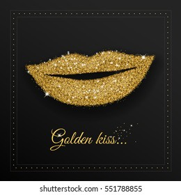 Woman lips with golden glitter, glamour smile.