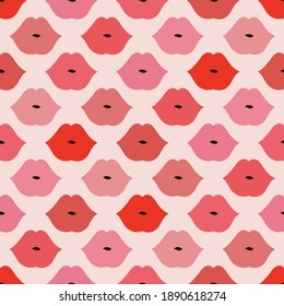 Woman lips kisses seamless pattern Shades of red pink lipstick makeup kiss Retro romantic feminine Valentines Day vector background design.