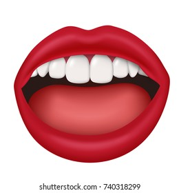 Woman lips slightly open mouth isolated 3D realistic. Vector illustration