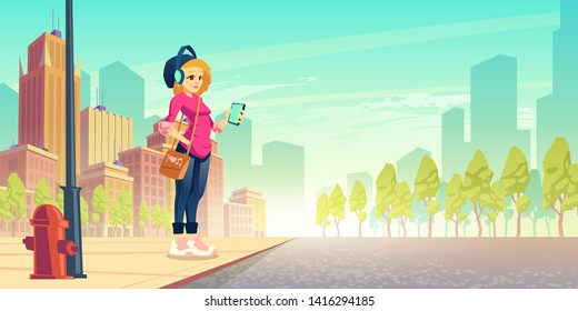 Woman listen music on street. Happy young urban girl in wireless headset with smartphone in hand stand at roadside having fun. Outdoor walk, leisure, city dweller walking. Cartoon vector illustration