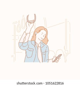 The woman is listening to music in the bus. hand drawn style vector doodle design illustrations.