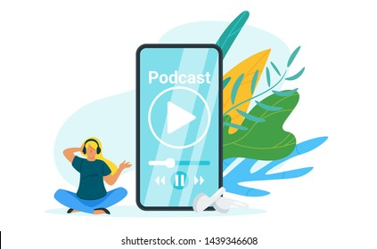 Woman listening to podcast flat vector illustration. Caucasian girl in headphones meditating cartoon character. Teenager listening to music, internet lesson on her smartphone