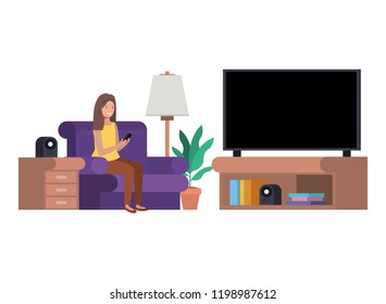 woman in the livingroom with smartphone avatar character
