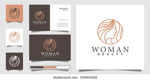 Woman logo with modern line art style for beauty salon and business card design template. Premium Vector, part 2